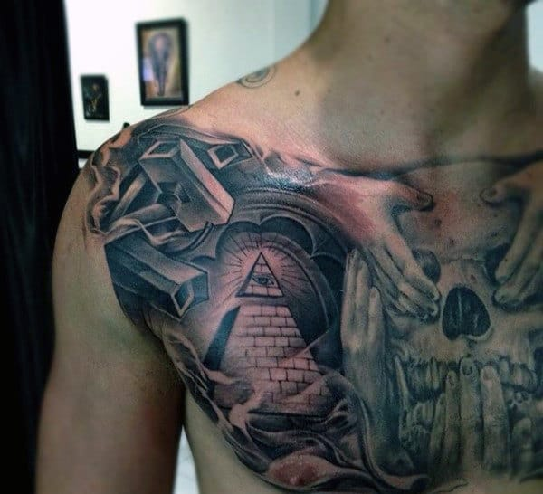 Mens Chest 3D Wall Illuminati Tattoo