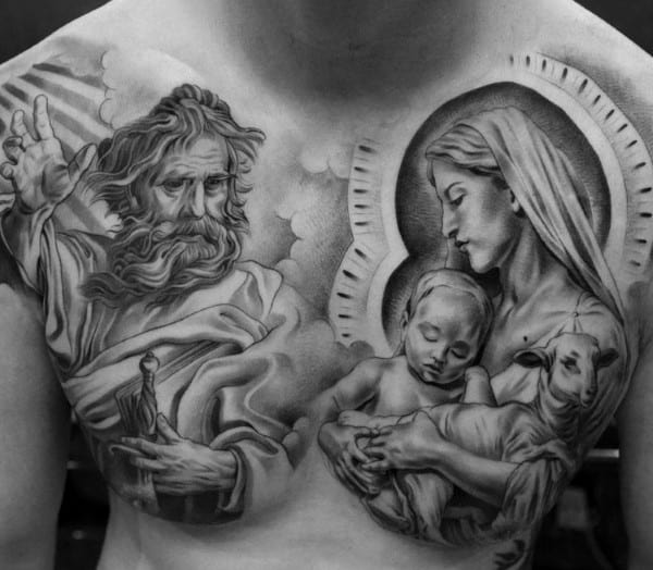 Mens Chest Lord And Mother Mary Tattoo