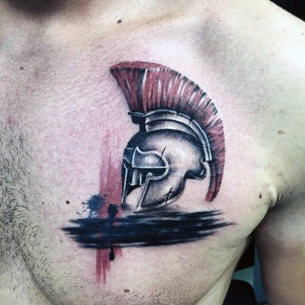 Mens Chest Spartan Warrior Helmet Tattoo