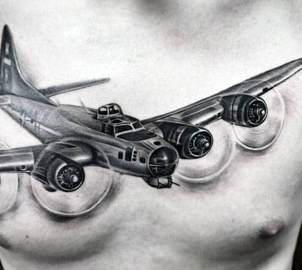 Men's Chest Airplane Flying Tattoo