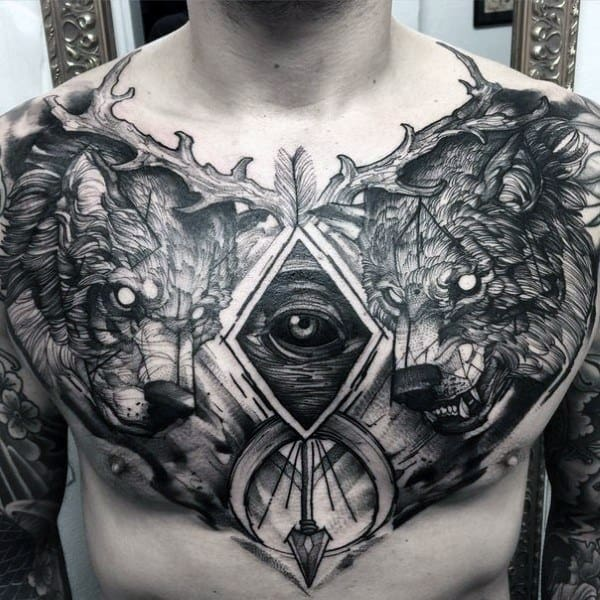 Mens Chest All Seeing Eye Wolf Sketch Coolest Tattoos