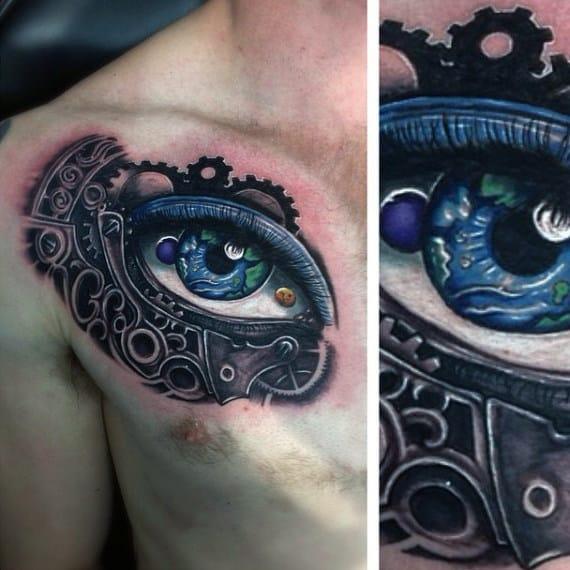 Mens Chest Amazing Blue Eyed Steampunk Tattoo