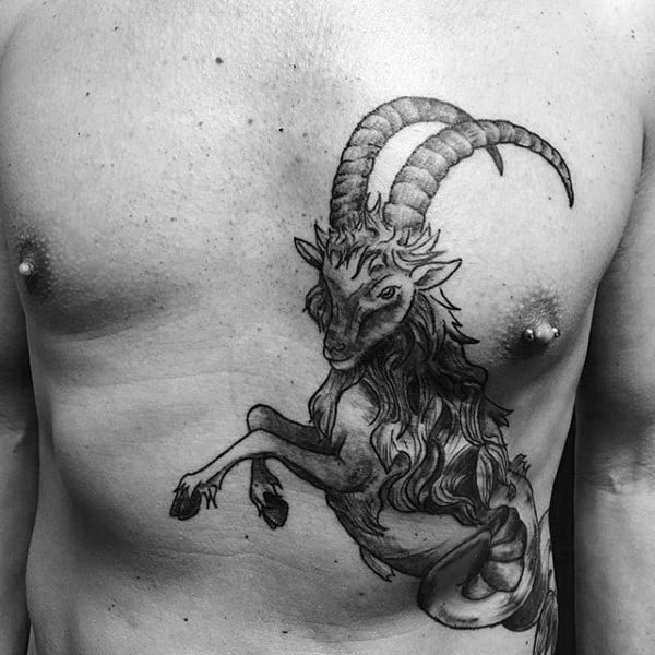 Mens Chest And Rib Cage Side Capricorn Jumping Goat Tattoo