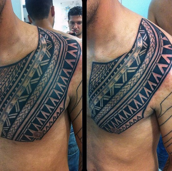 Mens Chest And Shoulder Samoan Tribal Tattoos