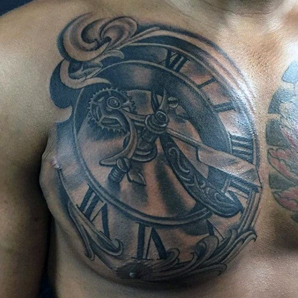 Mens Chest Antique Clock With Straight Razor Hands Tattoo Design Ideas