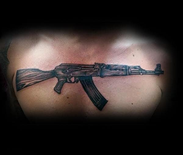 Mens Chest Awesome Ak 47 Tattoo