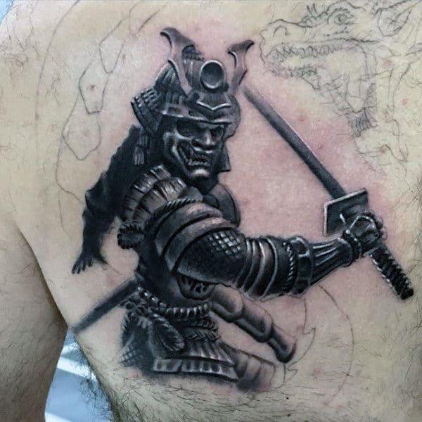 Mens Chest Black And White Warrior Tattoo