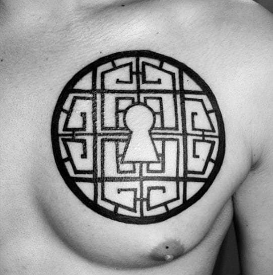 Mens Chest Black Ink Linework Keyhole Tattoos
