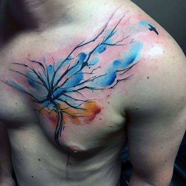 Mens Chest Blue Watercolor Tree Tattoo