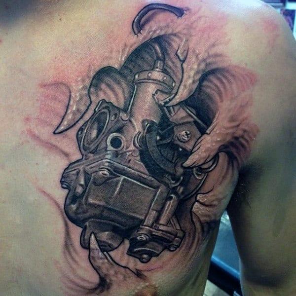 Mens Chest Carburetor Engine Tattoo