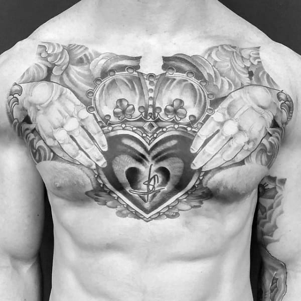 Mens Chest Claddagh Tattoos