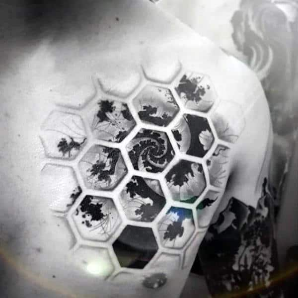 Mens Chest Cool Honeycomb Tattoo