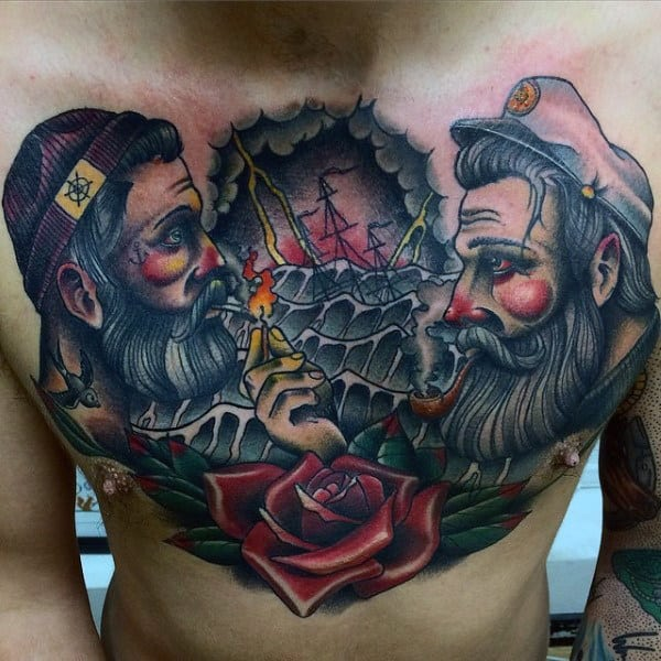 Mens Chest Cool Tattoo Of Sailors And Ship