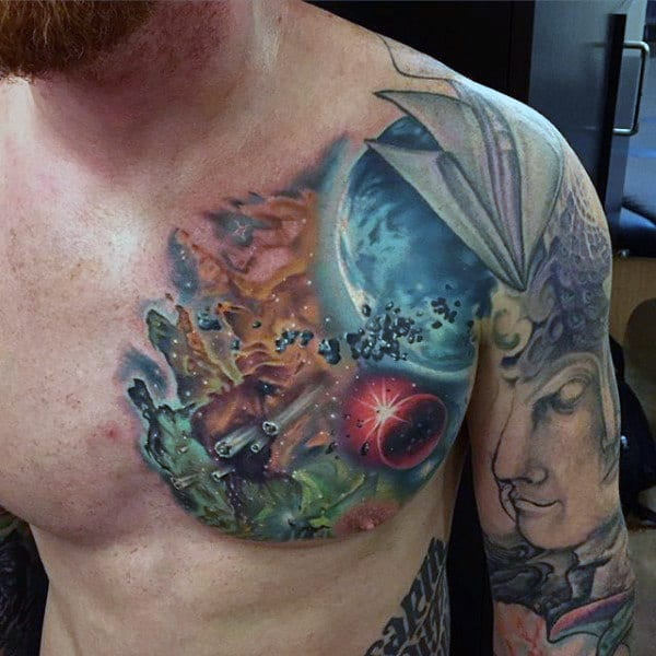 Mens Chest Cool Universe Tattoo
