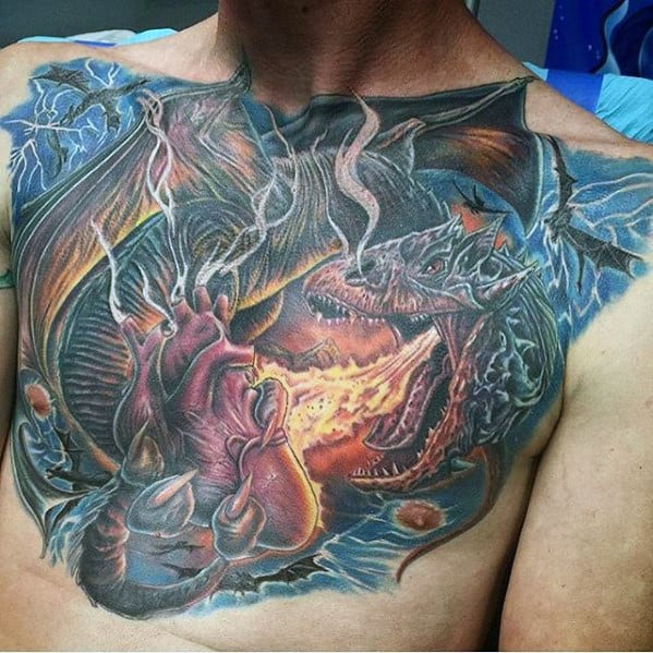 Mens Chest Dragon Breathing Fire With Heart Tattoo Design