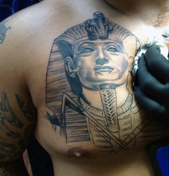Men's Chest Egyptian Pharaoh Tattoo