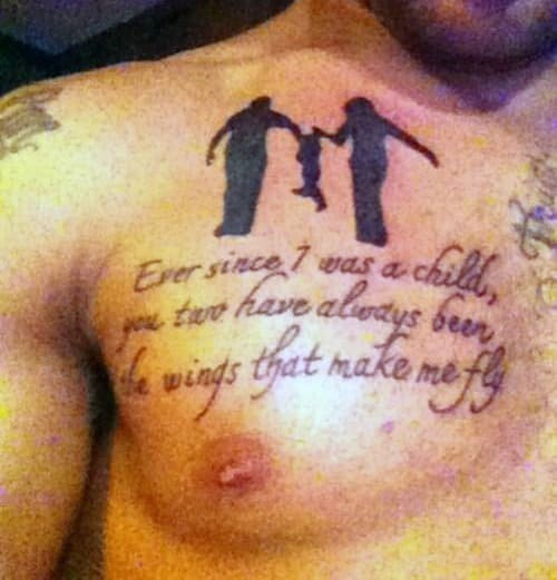 Mens Chest Father Son Tattoo Quotes