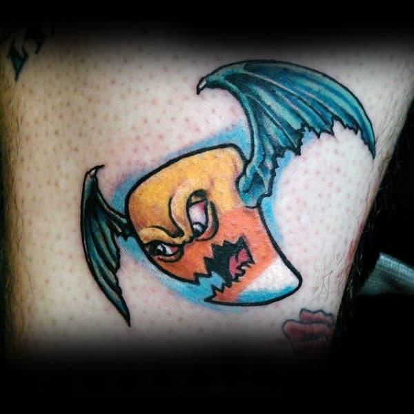 Mens Chest Flying Pumpkin Halloween Tattoo