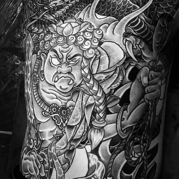 Mens Chest Fudo Myoo Tattoo Ideas