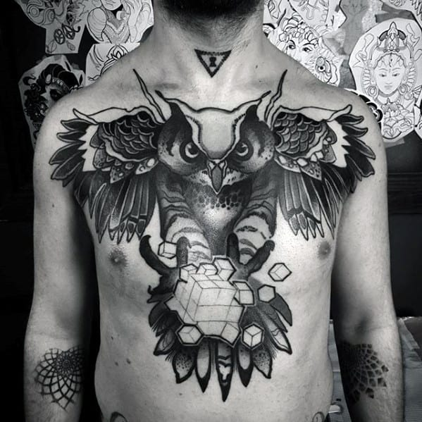 Mens Chest Geometric Owl With Cube Tattoo Design