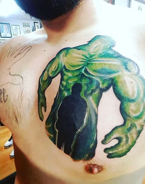 Mens Chest Ghostly Apparition On Hulk Tattoo