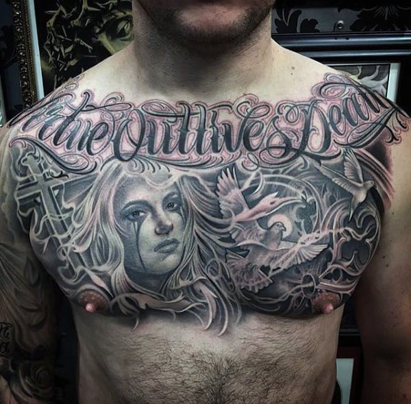 Mens Chest Gorgeous Lettering Tattoo