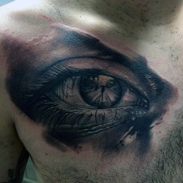 Mens Chest Interesting Tattoo Of Man With An Umbrella Inside Eyeball