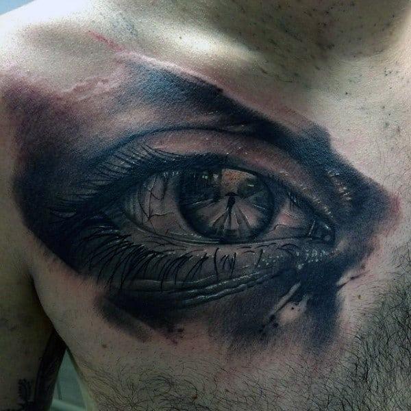 Mens Chest Interesting Tattoo Of Man With An Umbrella Inside Eyeball