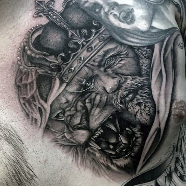 Mens Chest Merged King And Lion With Crown Tattoo