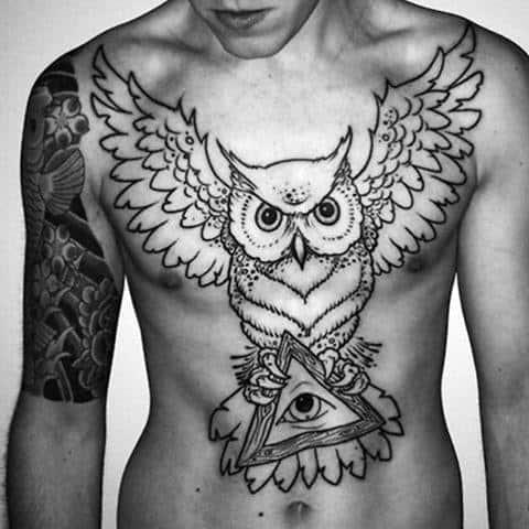 Mens Chest Owl And Illuminati Tattoo