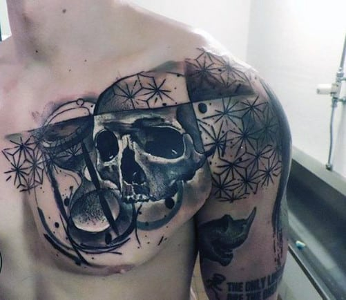 Skull Men's Chest Piece Tattoos