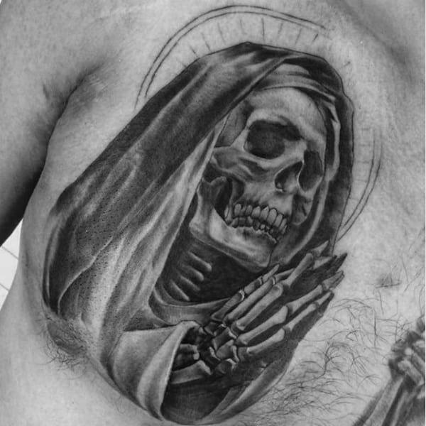 Mens Chest Praying Veiled Skull Religious Tattoo