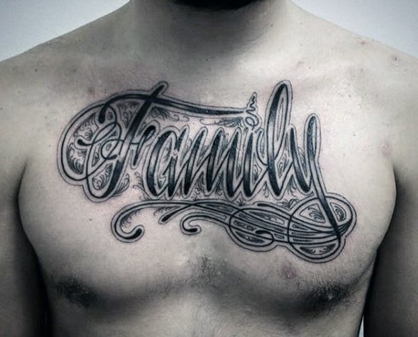 Mens Chest Printed Family Tattoo