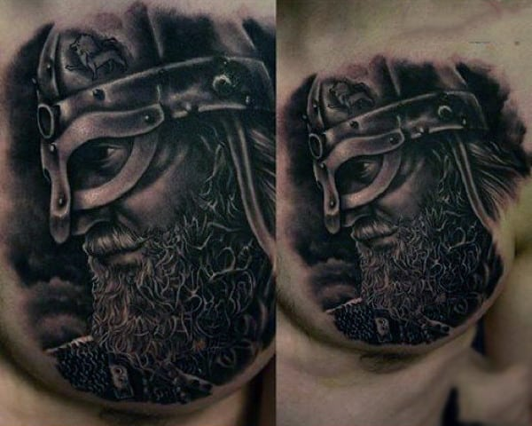 Mens Chest Profile Of Powerful Warrior Tattoo