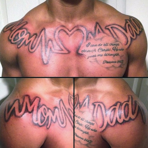 Mens Chest Quotes On Dad Tattoo