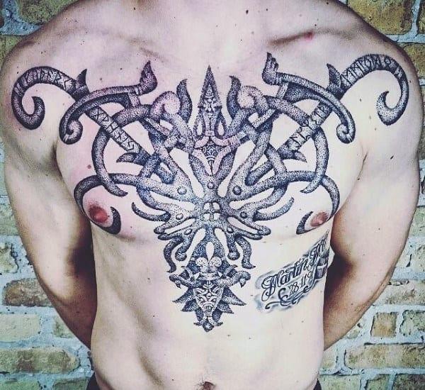 Mens Chest Runes Tattoos With Dotwork Design