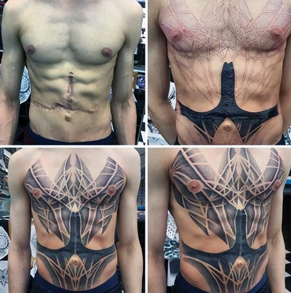 Mens Chest Scar Cover Up Geometric Tattoo Design Ideas