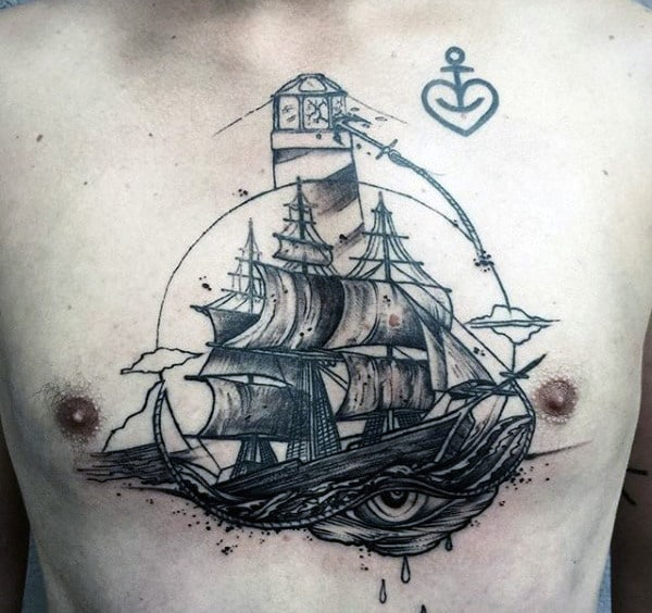Mens Chest Ship And Lighthouse Tattoo
