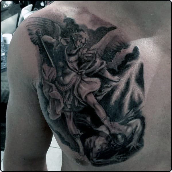 Men's Chest St Micheal Archangel Tattoo