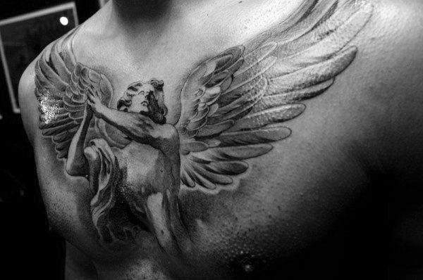 Mens Chest Sweet Guardian Angel Tattoo