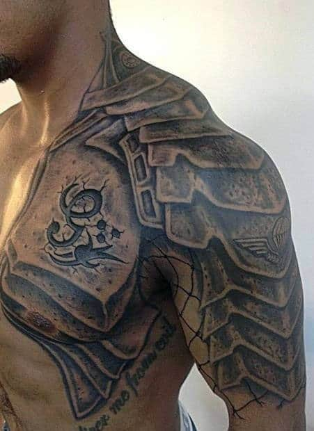 Armour Men's Chest Tattoo Ideas