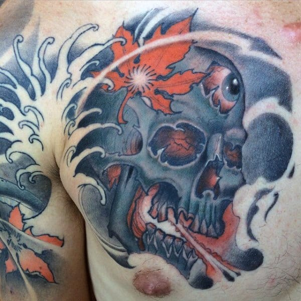 Mens Chest Tattoo Of Skull With Japanese Maple Leaf