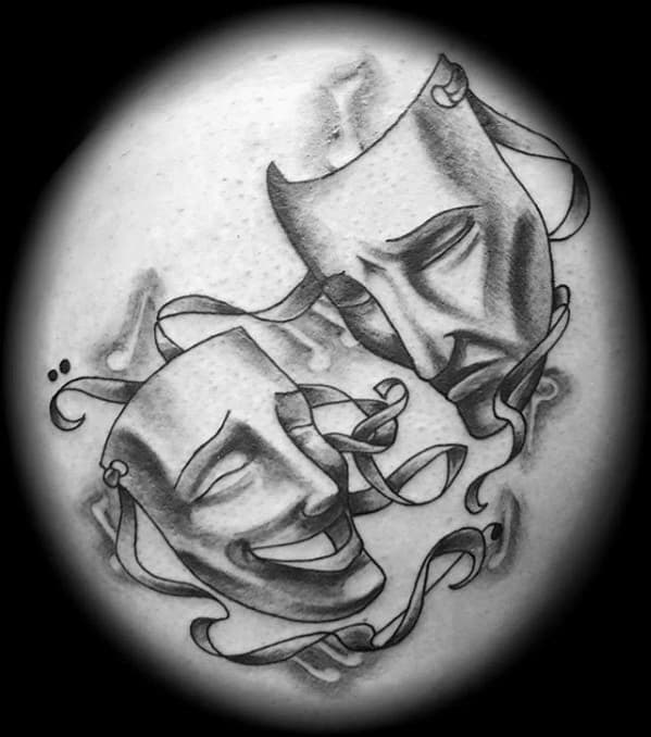 Mens Chest Tattoo With Drama Mask Design