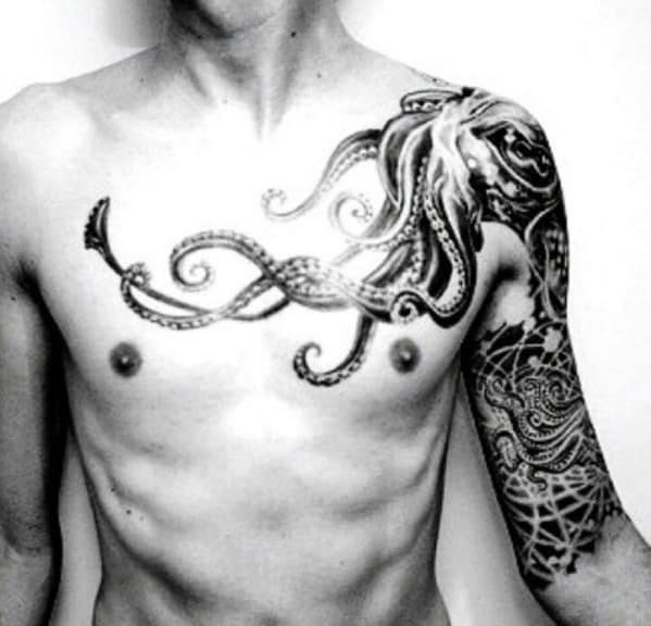 Octopus Men's Chest Tattoo
