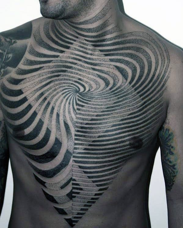 Lines Men's Chest Tattoos