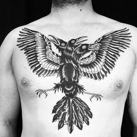 Mens Chest Three Headed Crow Cover Up Tattoos