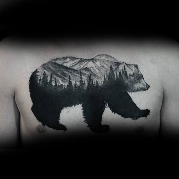 Mens Chest Tress Inside Bear Dotwotk Tattoo