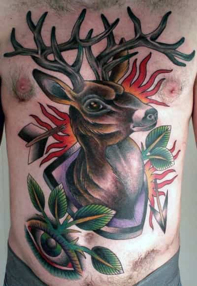 Mens Chest Unique Traditional Deer Mounted On Wall Tattoo