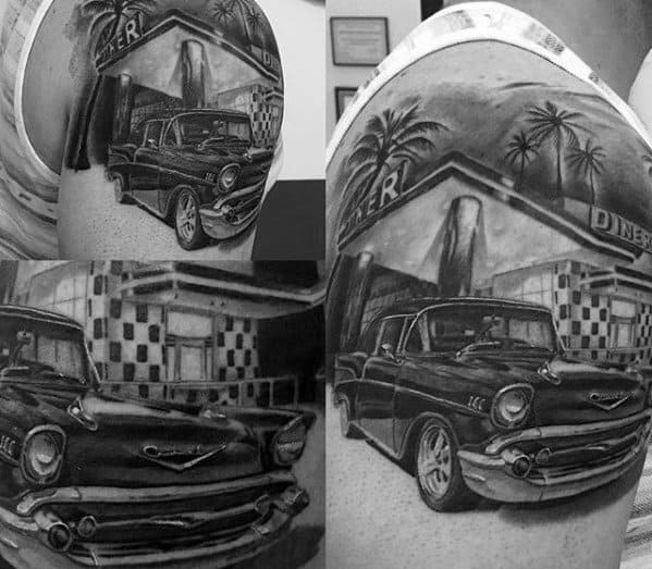 Mens Chevy Truck Parked By Diner Quarter Sleeve Shaded Tattoos