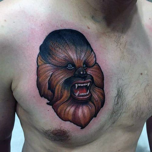 Mens Chewbacca From Star Wars Upper Chest Tattoo